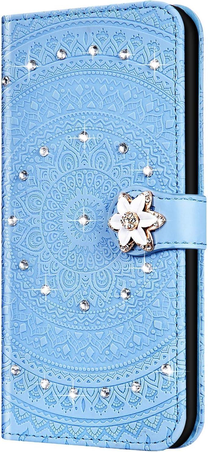 Surakey PU Leder H/ülle f/ür Huawei Y7 2019 Handyh/ülle Schutzh/ülle Glitzer Diamant Strass Bling Mandala Blumen PU Leder Brieftasche Flip Case Wallet Tasche Handytasche St/änder Kartenf/ächer,Blau