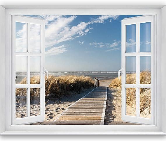 murimage Papel Pintado Playa Ventana 183 x 127 cm Incluyendo ...