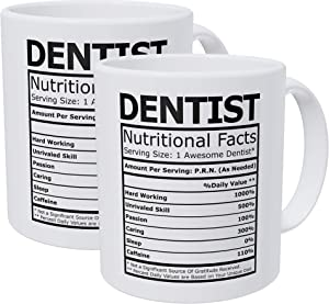 Willcallyou Pack of 2 Dentist Nutritional Facts 11 Ounces Funny White Coffee Mug