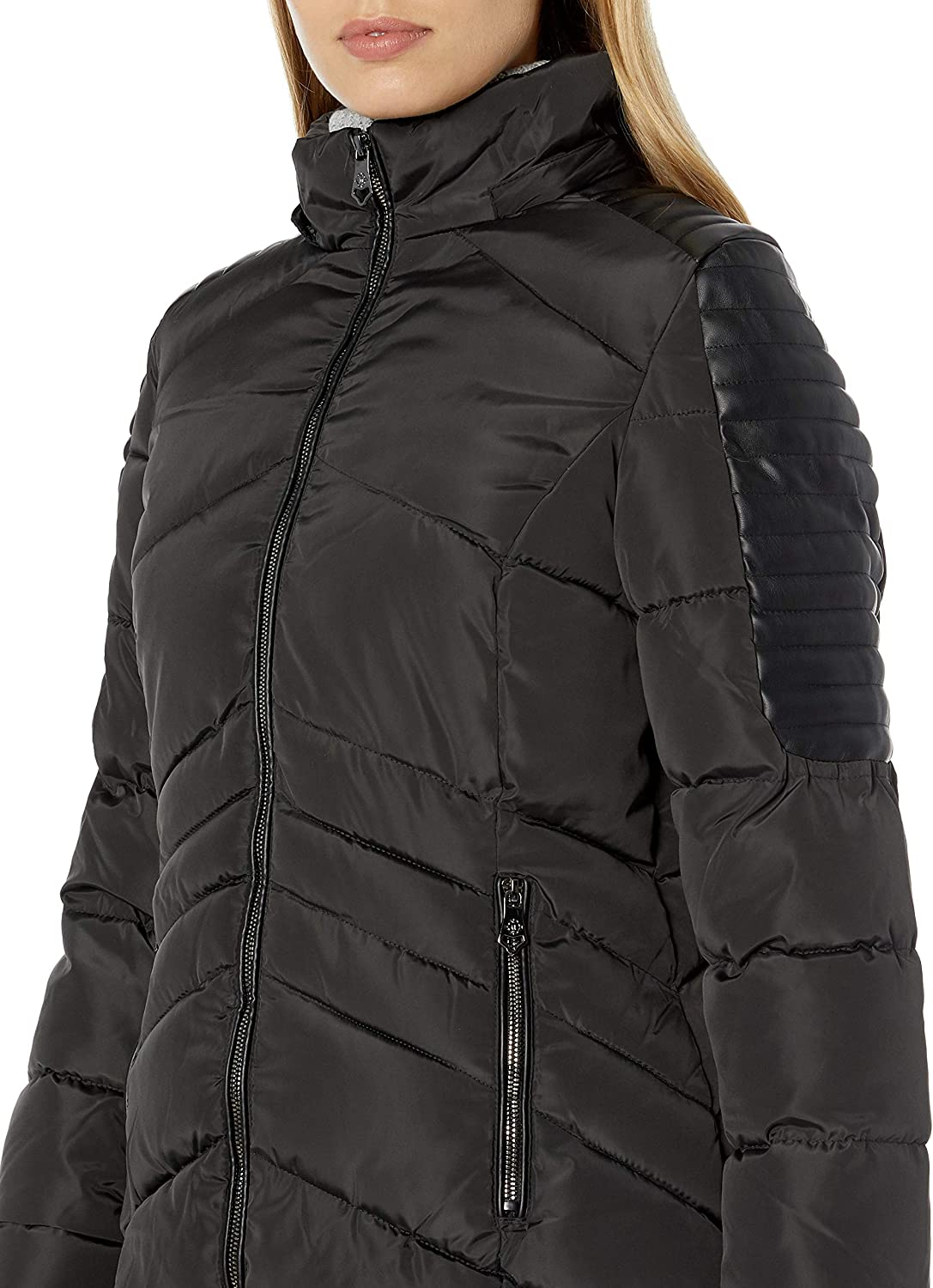 Nanette Lepore womens Puffer Coat With Faux Leather Details Down Alternative Coat