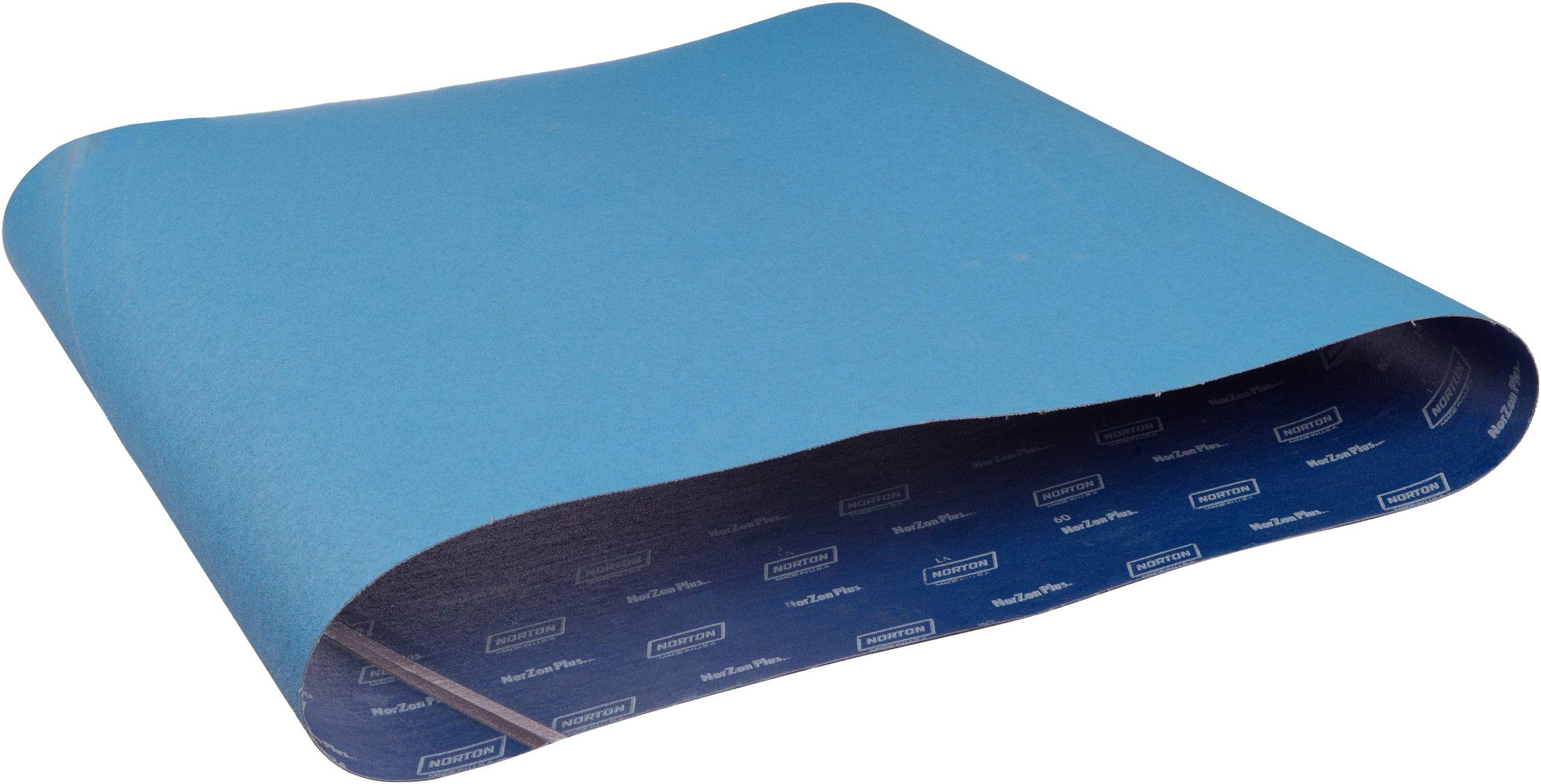 Norton NorZon Plus R824 Cloth Abrasive Belt, Waterproof, Cloth Backing, Zirconia Alumina, 37'' Width, 75'' Length, Grit 36 (Pack of 2)