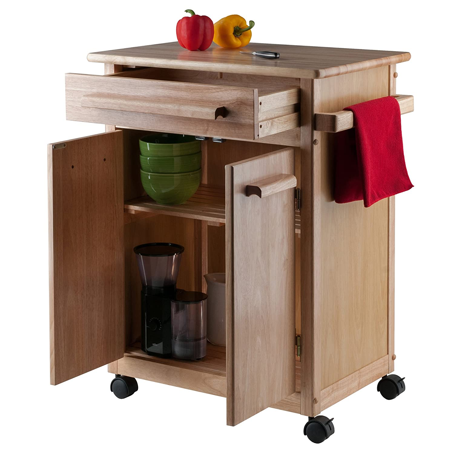 Amazon com winsome wood single drawer kitchen cabinet storage cart natural kitchen islands carts