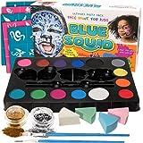Face Paint Kit for Kids - 52 Pieces, 14 Colors, 2 Glitters, 30 Stencils, 4 Makeup Sponges, Best Quality Face Paint Party Supplies - Safe Facepainting for Sensitive Skin - Professional Costume Makeup