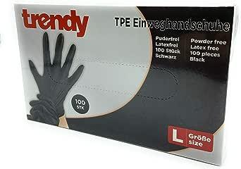 CLEO STYLE Wegwerphandschoenen van TPE, zwart, maat S, M, L, XL, poedervrij, latexvrij, maat 35