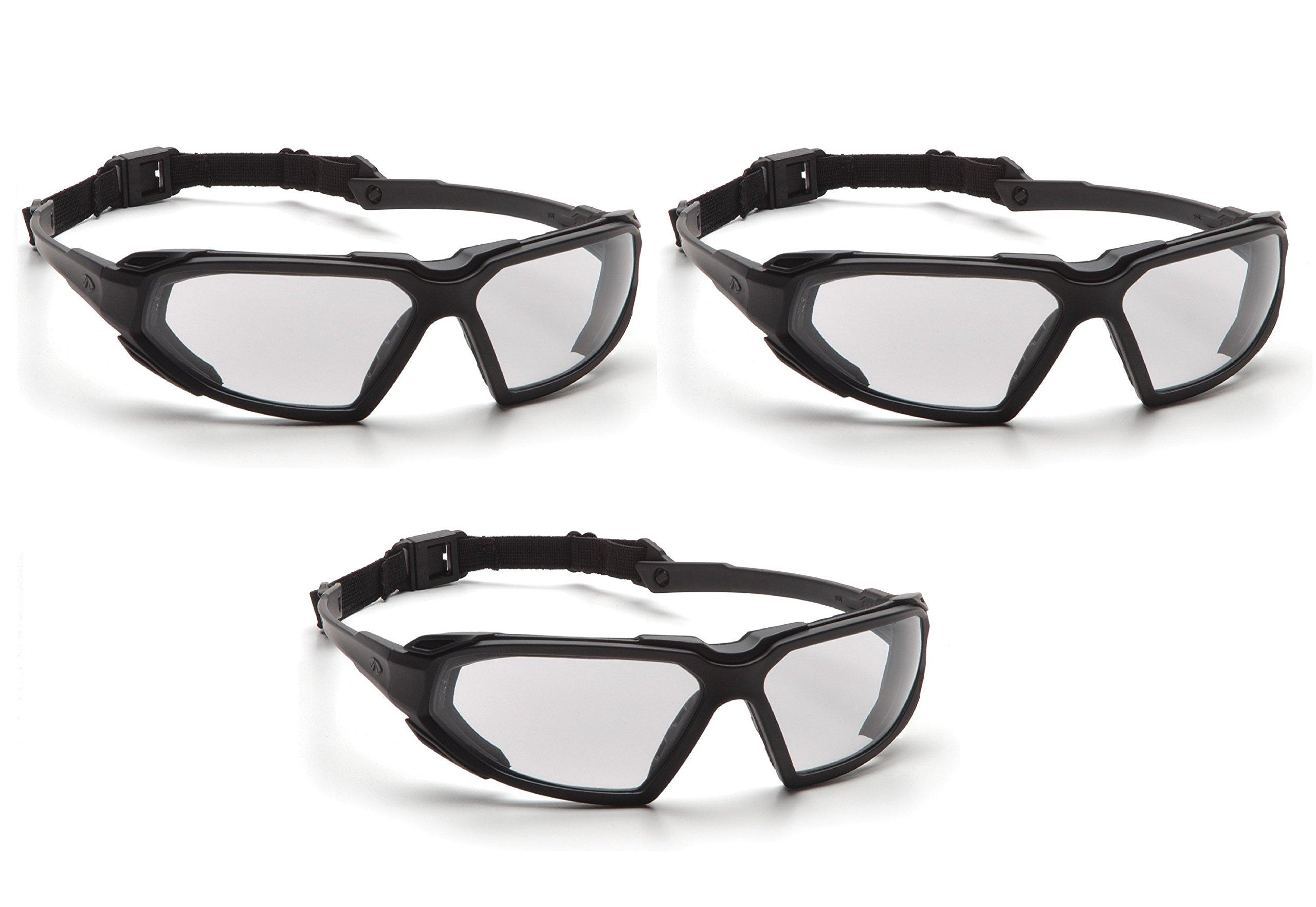 Highlander Pyramex Safety Eyewear (Black Frame/Clear Anti-Fog Lens) (3 Pair Pack) by Highlander