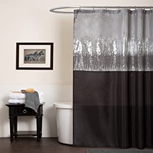 Lush Decor Night Sky Shower Curtain, 72-Inch by 72-Inch, Black/Gray