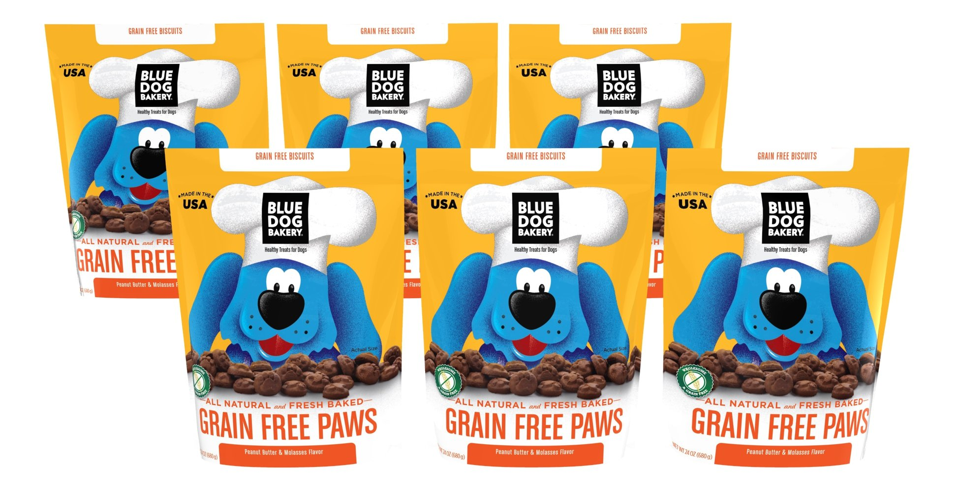 Blue Dog Bakery Grain-Free Dog Biscuits | All-Natural | Peanut Butter & Molasses | 24oz (Pack of 6)
