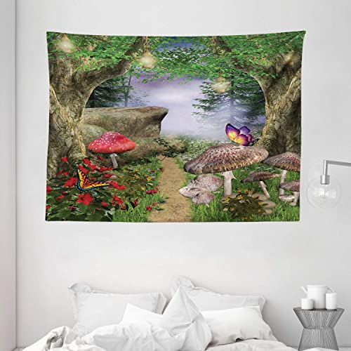 Ambesonne Mushroom Tapestry, Enchanted Nature Pathway with Butterflies Fairytale Landscape Rocks, Wide Wall Hanging for Bedroom Living Room Dorm, 80 X 60 , Green Red