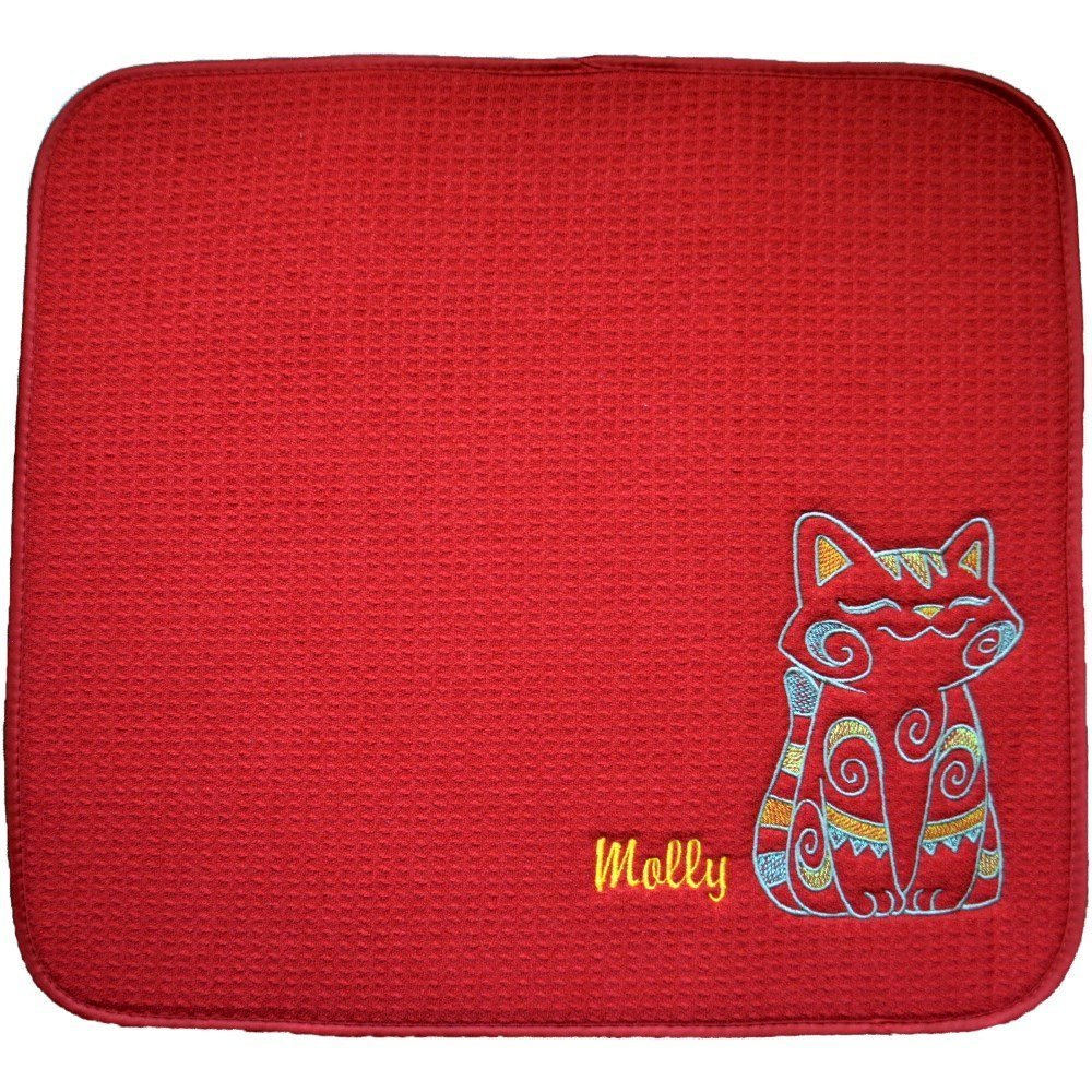 Personalized Pet Feeding Mat, Pet Placemat, EMBROIDERED Cat Litter Mat, Cat Bowl Mat, 18'' X 16'' Machine Wash/Dry, Durable, Name, CLASSY