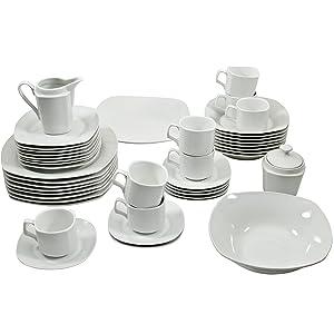 10 Strawberry Street 45-Piece Square Dinnerware Set, White