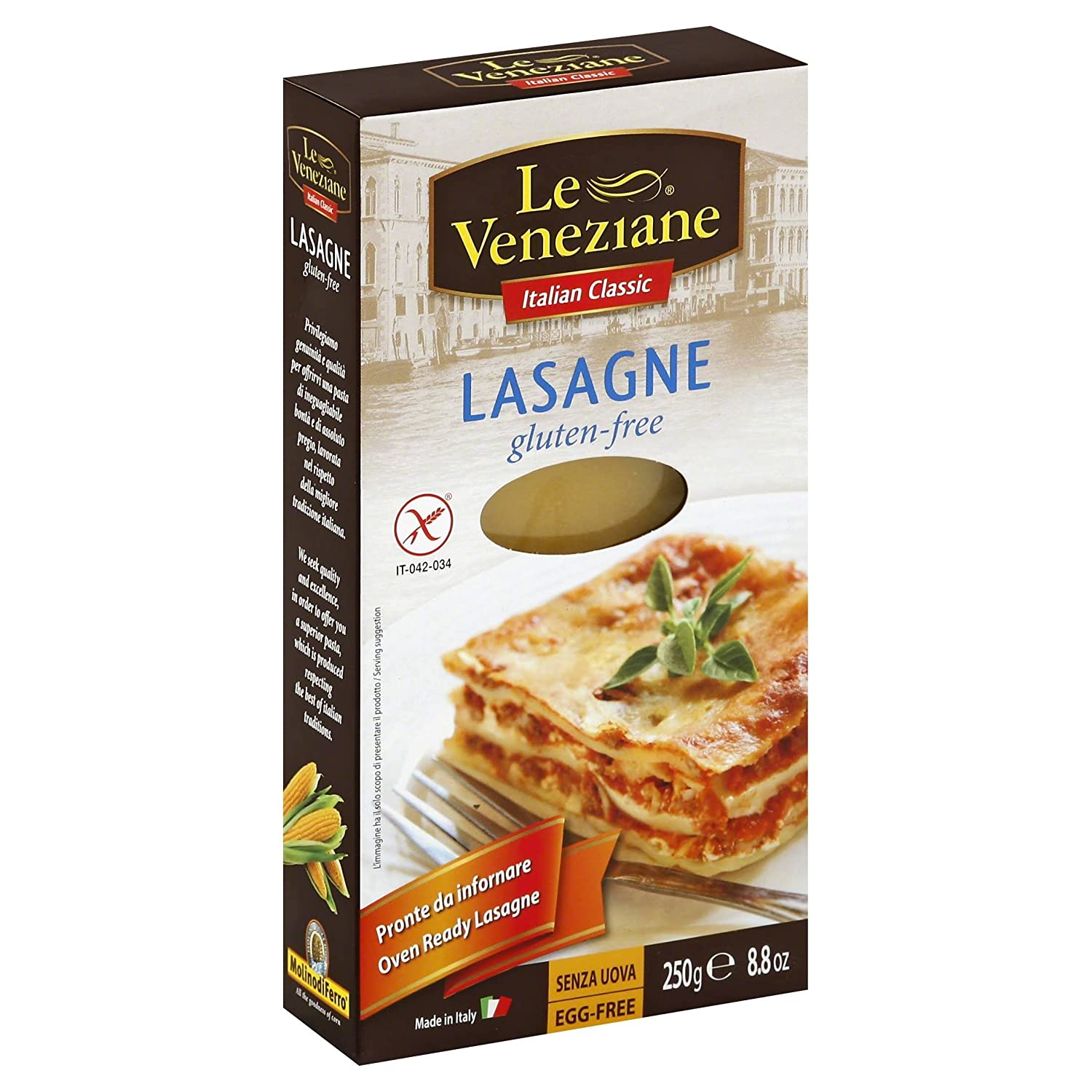 Amazon Com Le Veneziane Gluten Free Lasagne Sheets 250g Pack Of 2 Grocery Gourmet Food