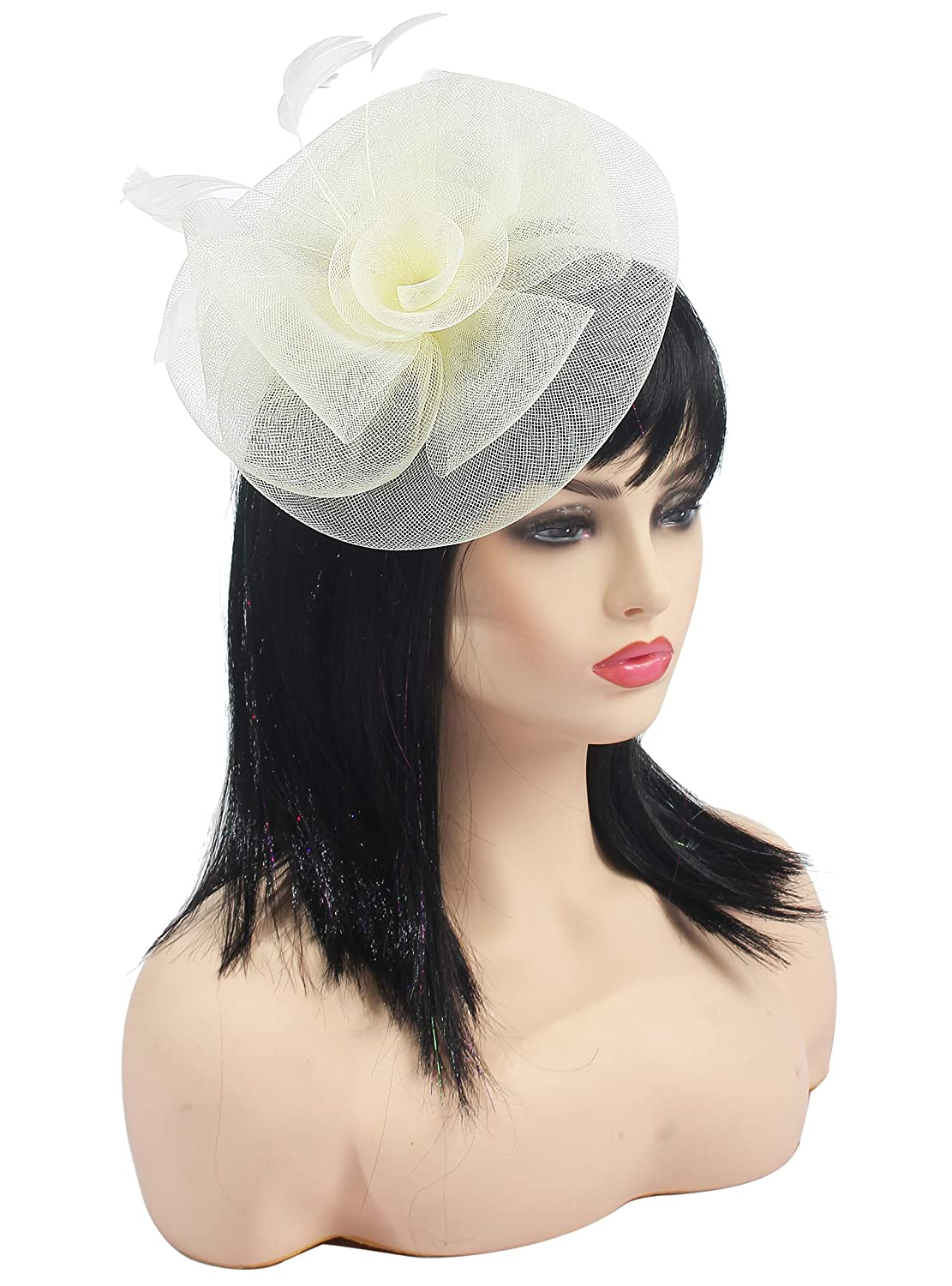 Fascinators Hats for Women Big Mesh Flower on a Hairband Tea Party Hat for Girls Myjoyday Fascinator-003