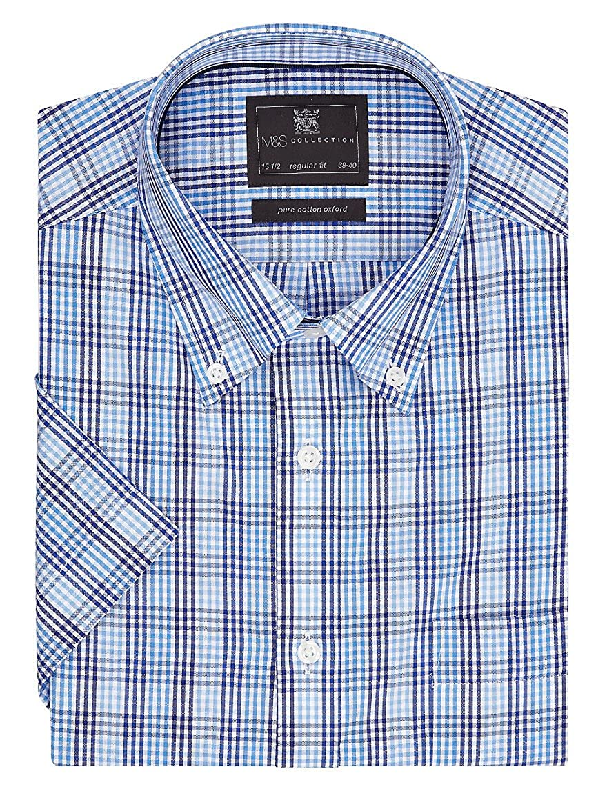 Ex Marks And Spencer Mens Formal Checked Shirt Short Sleeve Pure