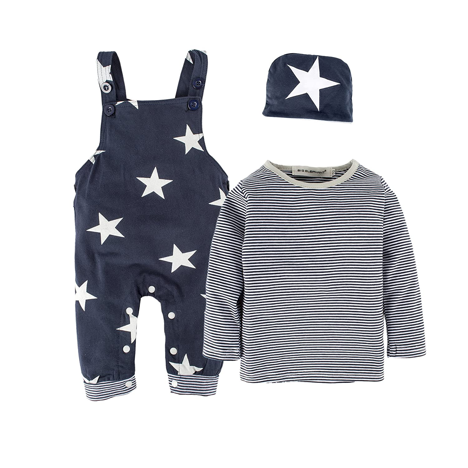 BIG ELEPHANT 3 Pieces Baby Boys'Long Sleeve Shirt Overalls Set with Hat H92C