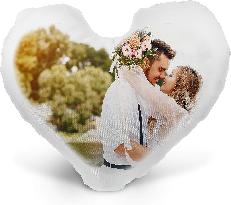 Cojines Personalizados con Foto – 40cmx40cm – Forma de corazón – Blanco