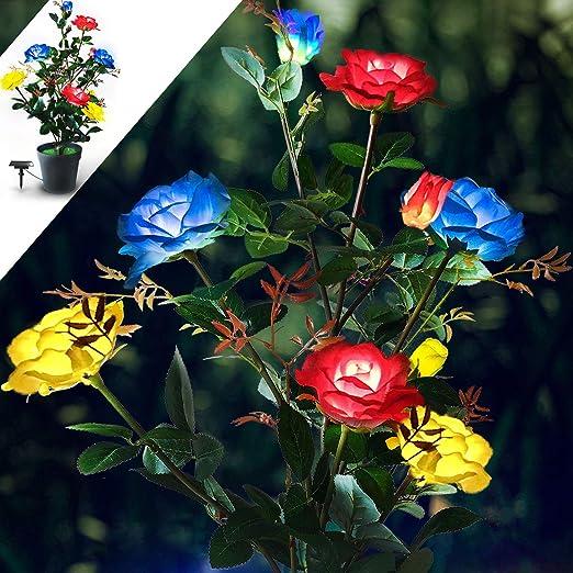 Flores artificiales con iluminación solar, para jardín o exteriores, 3 colores, con energía solar, para jardín, terraza, patio, patio trasero: Amazon.es: Iluminación