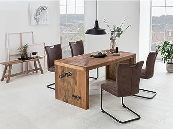 Woodkings Tischgruppe Kenton, Esstisch 160x70 mit 4 Schwingstühlen ...