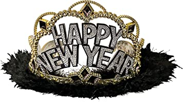 """Happy New Year"" Deluxe Black Plastic Tiara 