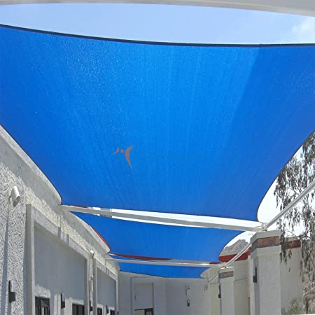 Sunshades Depot 10 x 15 Sun Shade Sail Rectangle Permeable Canopy Ice Blue Custom Size Available Commercial Standard