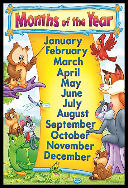 idecor month of the year chart for kids child learning wall poster