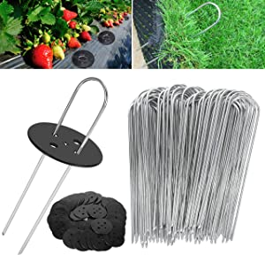 WOKKOL Ground Pegs, Garden Pegs Metal, Garden Pegs, Garden Pegs for Netting, Ground Pegs Garden, 2.5mm Thick,15cm/2.5cm, for Securing Weed Fabric,Netting,Ground Sheets(50 Garden Pegs/50Buffer Washer)