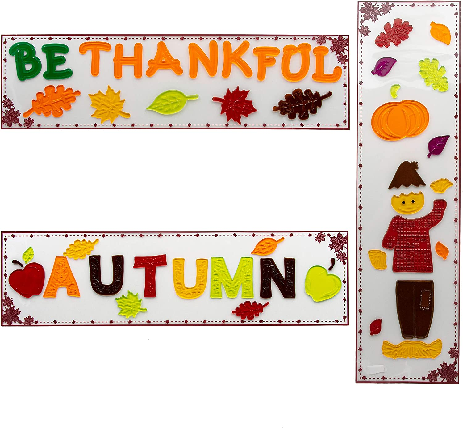 """B-THERE Bundle of 3 Autumn Harvest Fall Decorations 5.5"""" x 21"""" Window Gel Clings, Thanksgiving Decorations W/Pumpkins, Scarecrow, Oak Maple Leaves and Apples"""