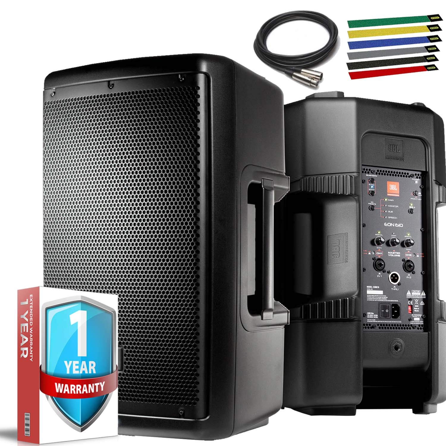 JBL Professional EON610 Portable 10'' 2-Way Multipurpose Self-Powered Sound Reinforcement Speaker with 10ft XLR, Cable Ties and 1-Year Extended Warranty by JBL