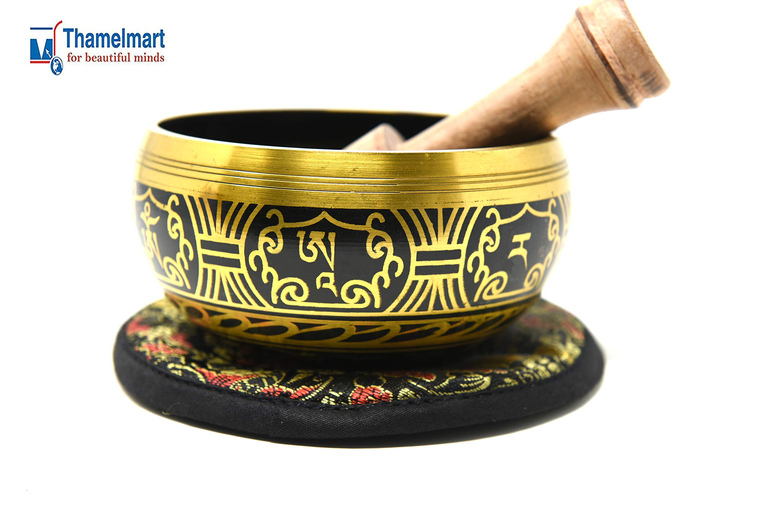 4'' Exquisite Tibetan Singing Bowl Set for Meditation ~Tibetan Om Mantra & Dorje Painted ~ Silk Cushion & Wooden Mallet Included ~Handmade in Nepal by Thamelmart by TM THAMELMART FOR BEAUTIFUL MINDS