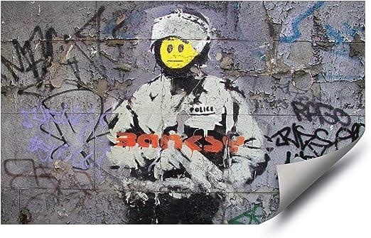 BANKSY SMILEYS GRAFFITI STREET CANVAS PRINT ART
