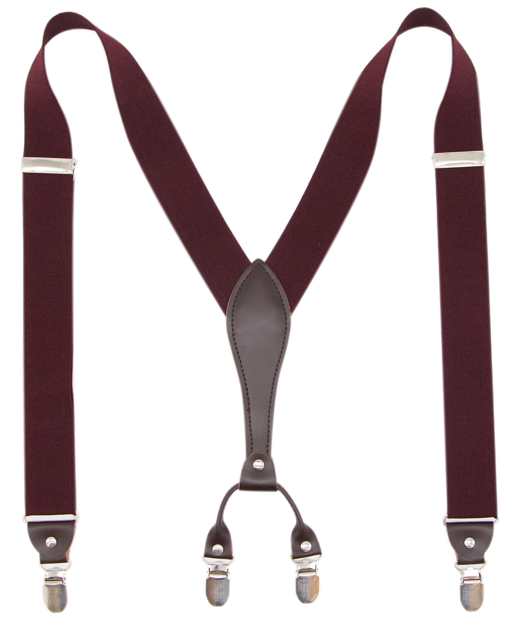 Bioterti Men's Y-Back Wide Suspenders| Sturdy Stylish & Easy To Match|10 Colors (Burgundy)