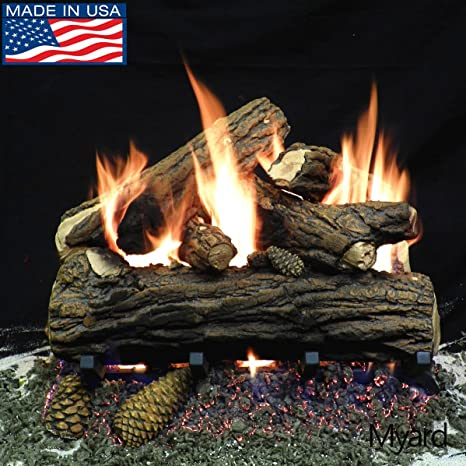 Payandpack Myard 18 Inches Country Oak Deluxe Fire Gas Logs Logs Only For Natural Gas Liquid Propane Vented Fireplace Home Kitchen