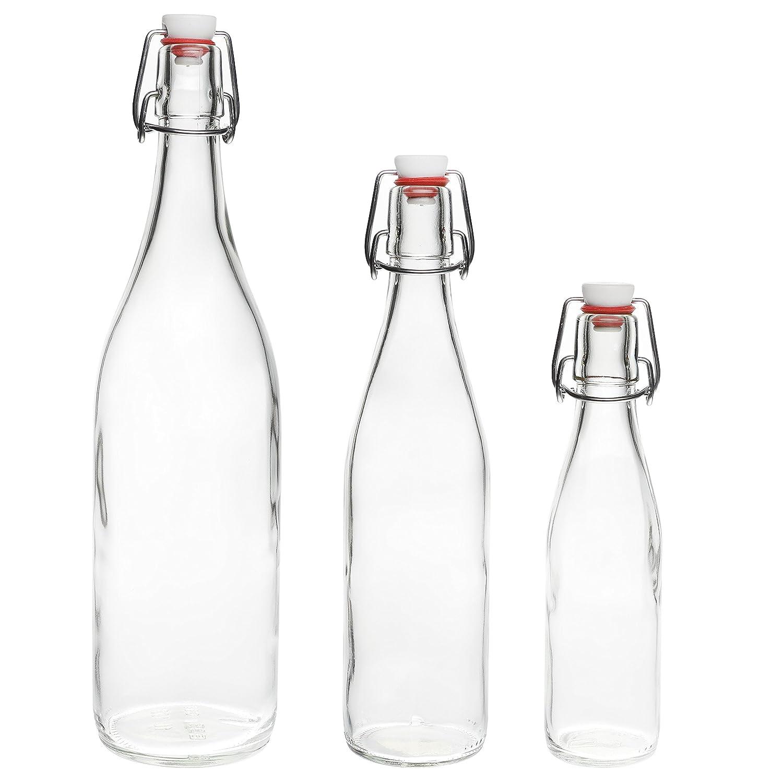 12 botellas de vidrio vacías 500 ml con botellas de licor cerradura de la correa, botellas de jugo, aceite de vinagre de vino, botellas de 0,5 litros SLK ...