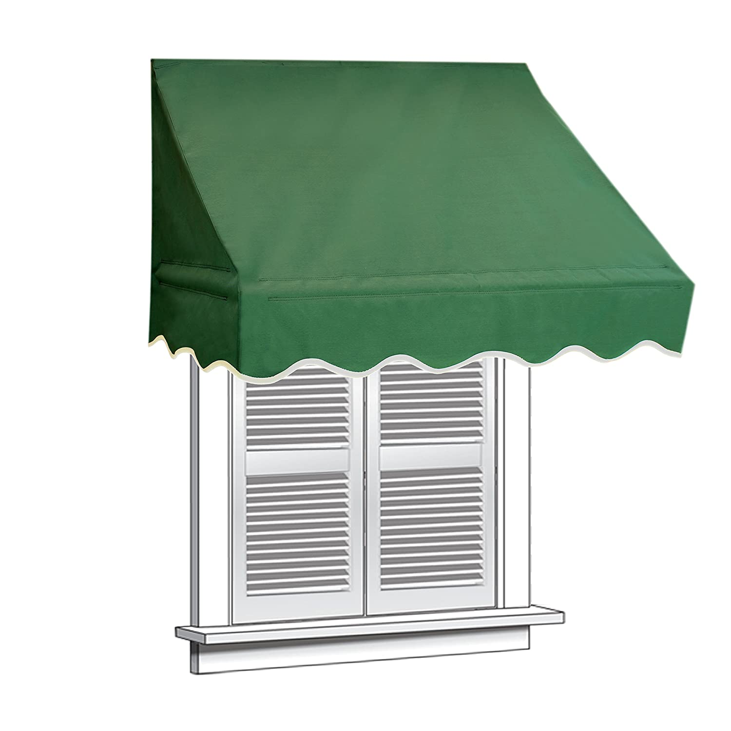 ALEKO 4x2 Green Window Awning Door Canopy 4-Foot Decorator Awning