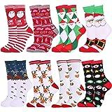 Fansport Calcetines Navideños,8 Pares Navidad de Invierno Calcetines de Algodón Cálidos Calcetines Navidad para Mujer…