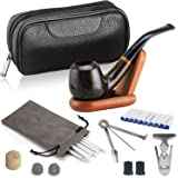 Joyoldelf Luxury Tobacco Smoking Pipe Set, Deepened & Windproof Wooden Pipe with Leather Tobacco Pouch, Wood Stand and Smoking Accessories