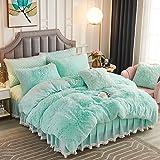 JAUXIO Luxury Long Faux Fur 2 PCS Bedding Set Shaggy Comforter Duvet Cover with Pillow Sham Ultra Soft Crystal Velvet Reverse