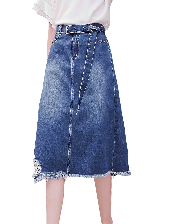 0f6963ca33 Plus Size Elastic Waist Denim Skirts