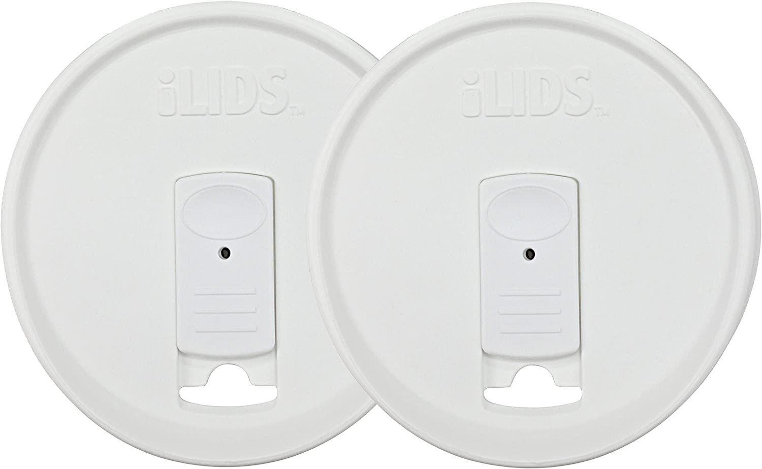 iLIDS Mason Jar Drink Lid, Wide Mouth, White, Pack of 2