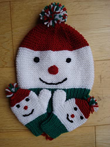 Hand Knitted Snowman Hat And Mittens Great Christmas Gift 1 2 Years