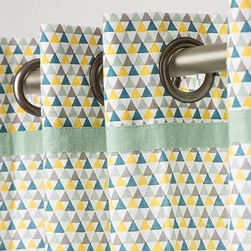 Schöner Leben Shop Rideau à œillets Motif Triangles Isocèles Jaune