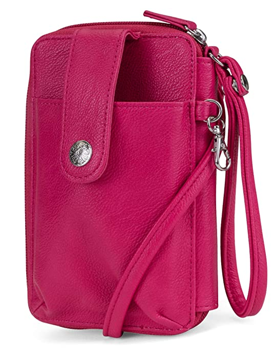 MUNDI Jacqui Vegan Leather RFID Womens Crossbody Cell Phone Purse Holder Wallet ((Pink))