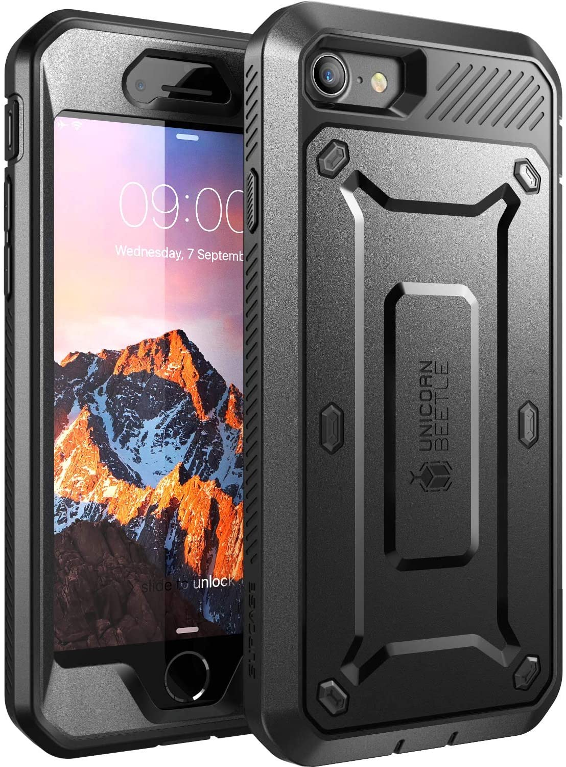 SupCase Unicorn Beetle Pro Series Case Designed for iPhone SE 2nd generation/iPhone 8 /iPhone 7, Full-body Rugged Holster Case with Built-in Screen Protector for Apple iPhone SE (2020 Release) (Black)