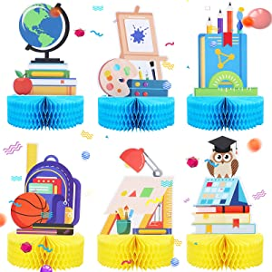 6 Pieces Back to School Honeycomb Centerpieces Teacher Decorations for Classroom First Day of School Decoration Cake Balls Table Toppers Back to School Party Paper Centerpiece Signs 3D Desk Decoration