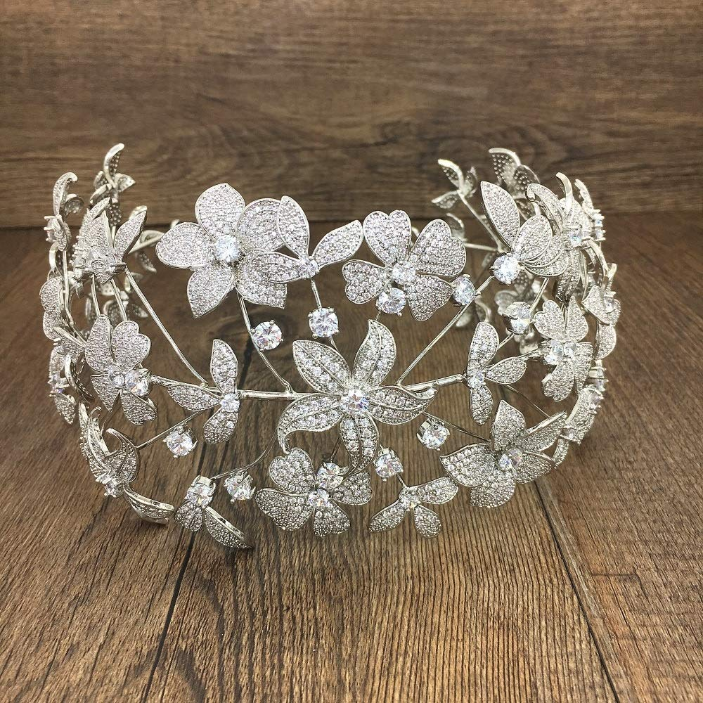 King Boutiques Paved Full Cubic Zircon Tiara Zirconia Flower Crown Bridal Wedding Hair Accessories (Metal Color : WIGO1293 1PC) by King Boutiques