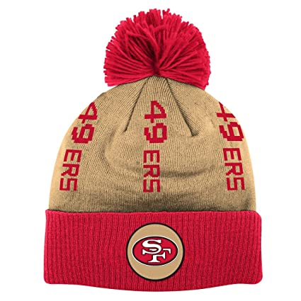 Image Unavailable. Image not available for. Color  Mitchell   Ness San  Francisco 49ers NFL Vertical Cuffed Knit Hat w Pom c0cc9bc90