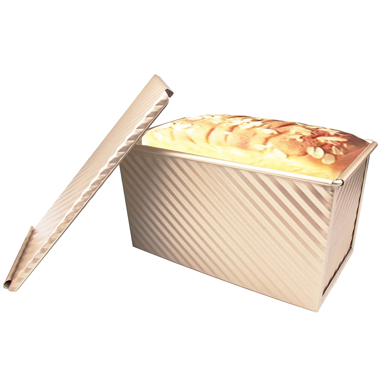 Molde para pan, antiadherente, de acero al carbono, con tapa deslizante, molde para hornear pan, bandeja de liberación rápida con orificios de ...