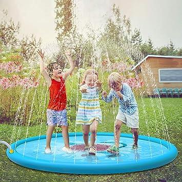 Jasonwell Juegos de Agua Salpicaduras Almohadilla de Aspersión Alfombra Juegos Piscina para Niños de 2 3 4 5 6 Años y Jardin Fiesta Al Aire Libre de 170cm: Amazon.es: Juguetes y juegos