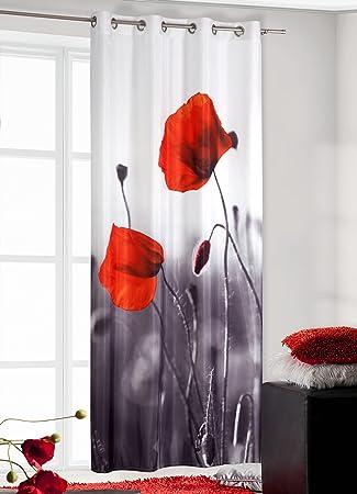 Amazon.de: 140x245 rot grau stahl Mohn Blume Print Vorhang