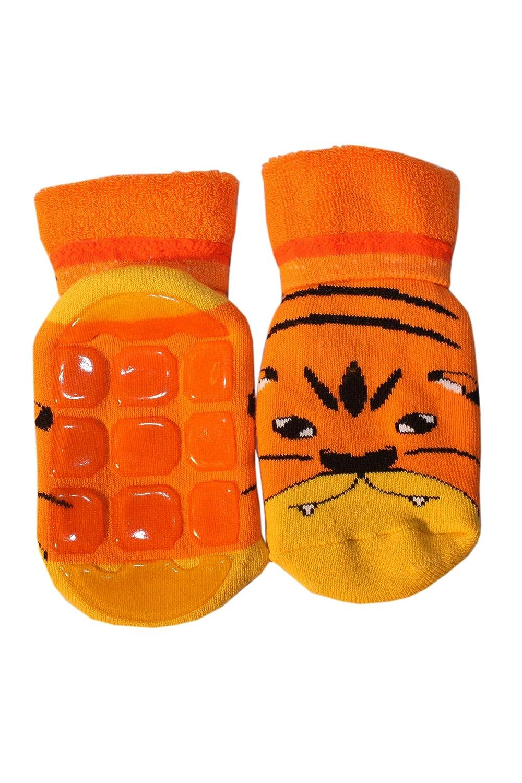 Weri Spezials Unisexe Bebes et Enfants ABS Eponge Petit Tigre Chaussettes Orange