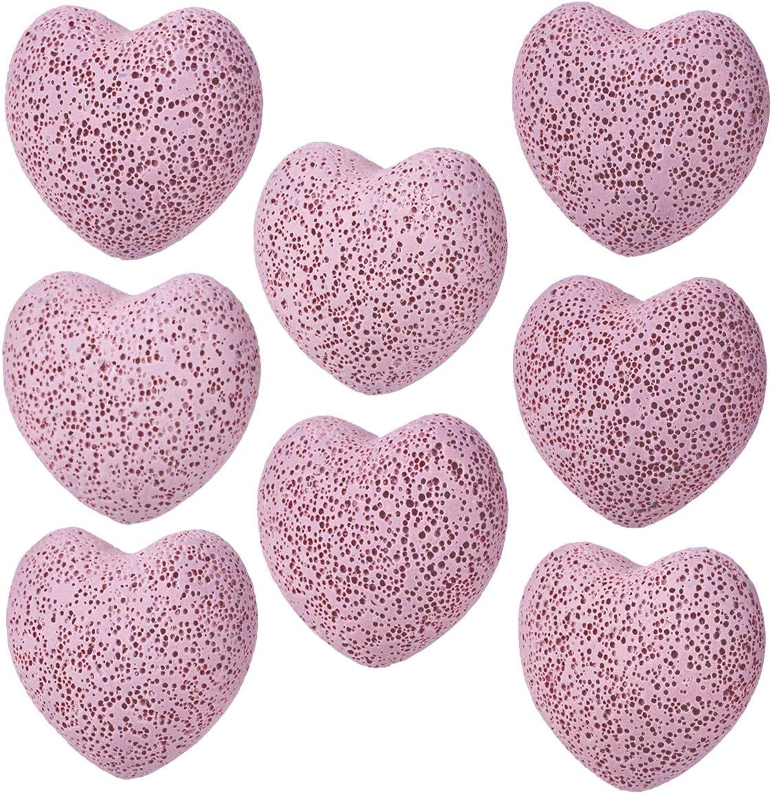SUNYIK Lava Rock Gemstone Puffy Heart, Natural Pocket Stone Figurine Decoration Aromatherapy Essential Oil Diffuser Set, 1 inch, Pink, Pack of 10